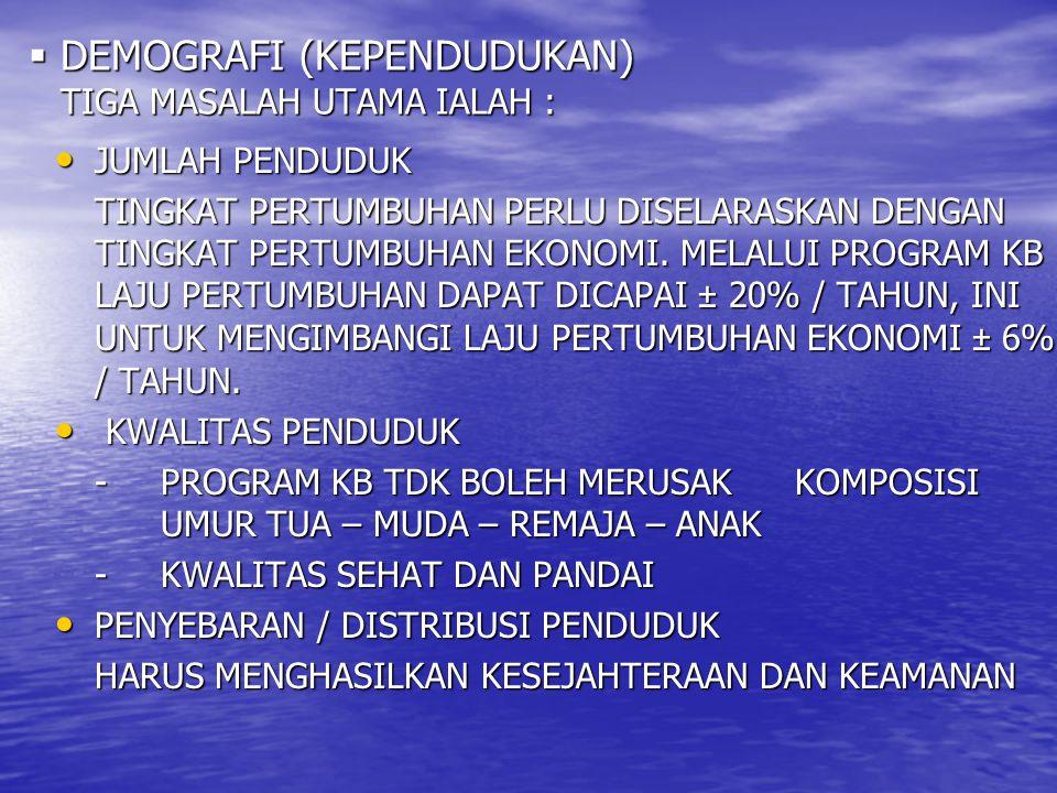 DEMOGRAFI (KEPENDUDUKAN) TIGA MASALAH UTAMA IALAH :