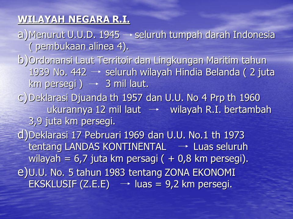 WILAYAH NEGARA R.I. Menurut U.U.D. 1945 seluruh tumpah darah Indonesia ( pembukaan alinea 4).