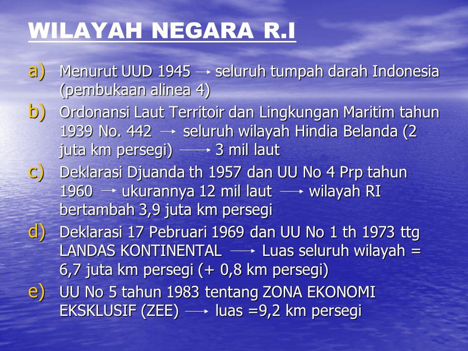 WILAYAH NEGARA R.I Menurut UUD 1945 seluruh tumpah darah Indonesia (pembukaan alinea 4)