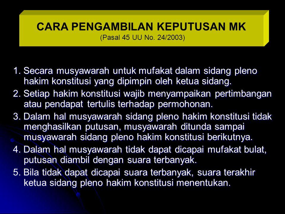 CARA PENGAMBILAN KEPUTUSAN MK (Pasal 45 UU No. 24/2003)