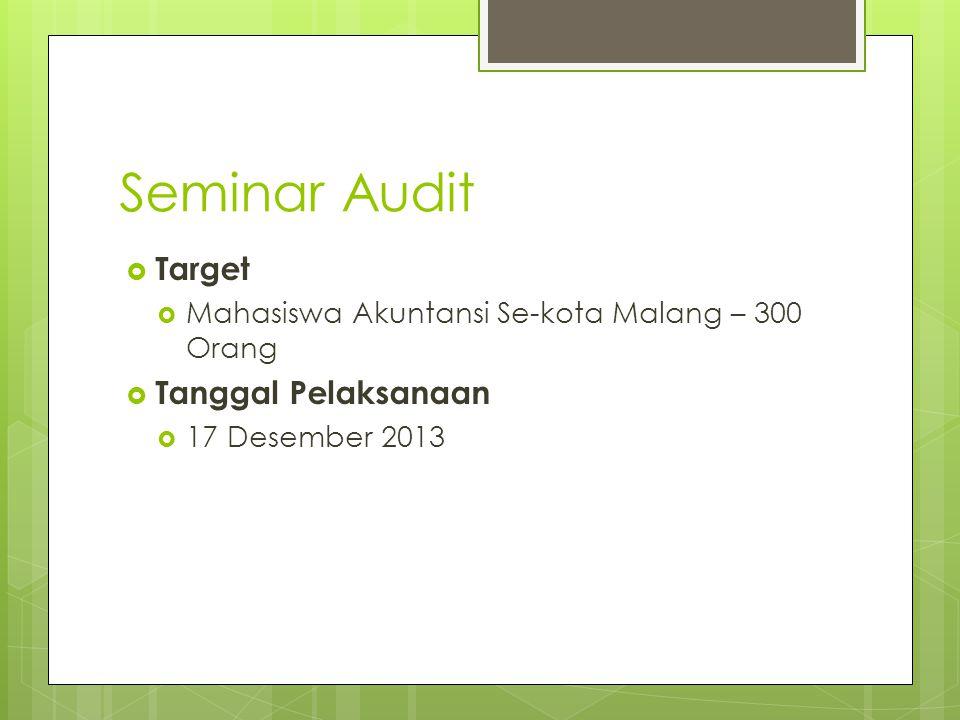 Seminar Audit Target Tanggal Pelaksanaan