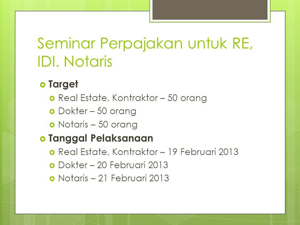 Seminar Perpajakan untuk RE, IDI. Notaris