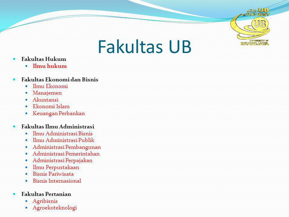 Fakultas UB Fakultas Hukum Ilmu hukum Fakultas Ekonomi dan Bisnis