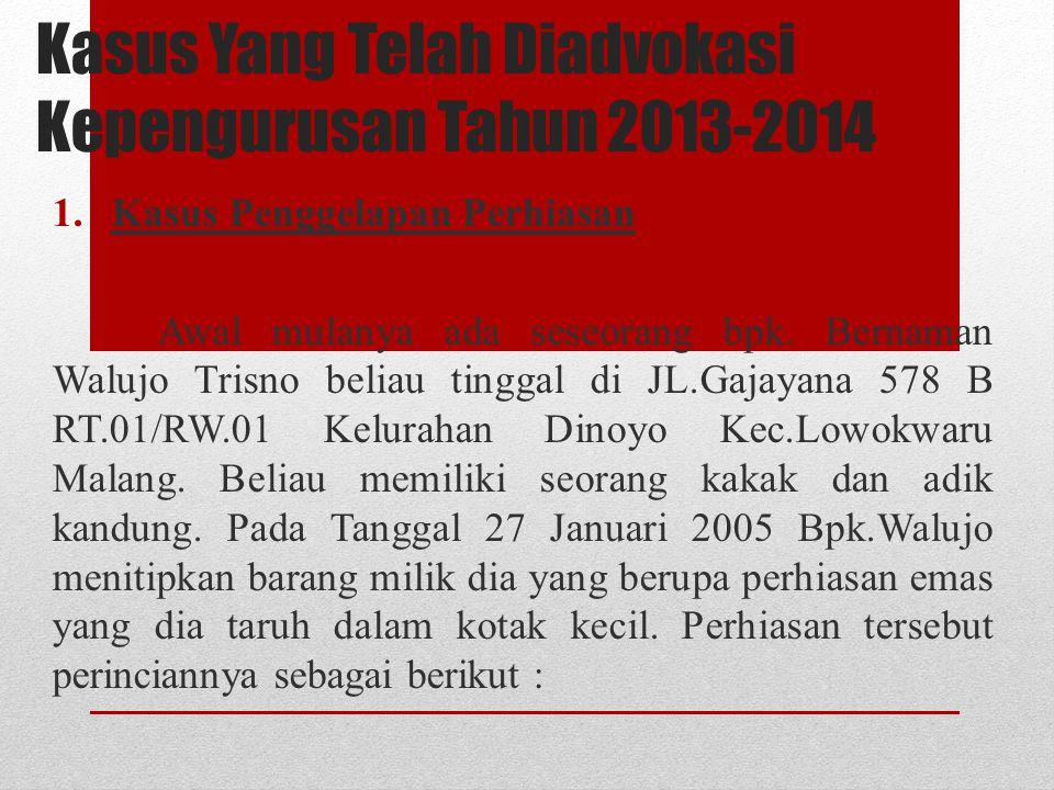 Kasus Yang Telah Diadvokasi Kepengurusan Tahun 2013-2014