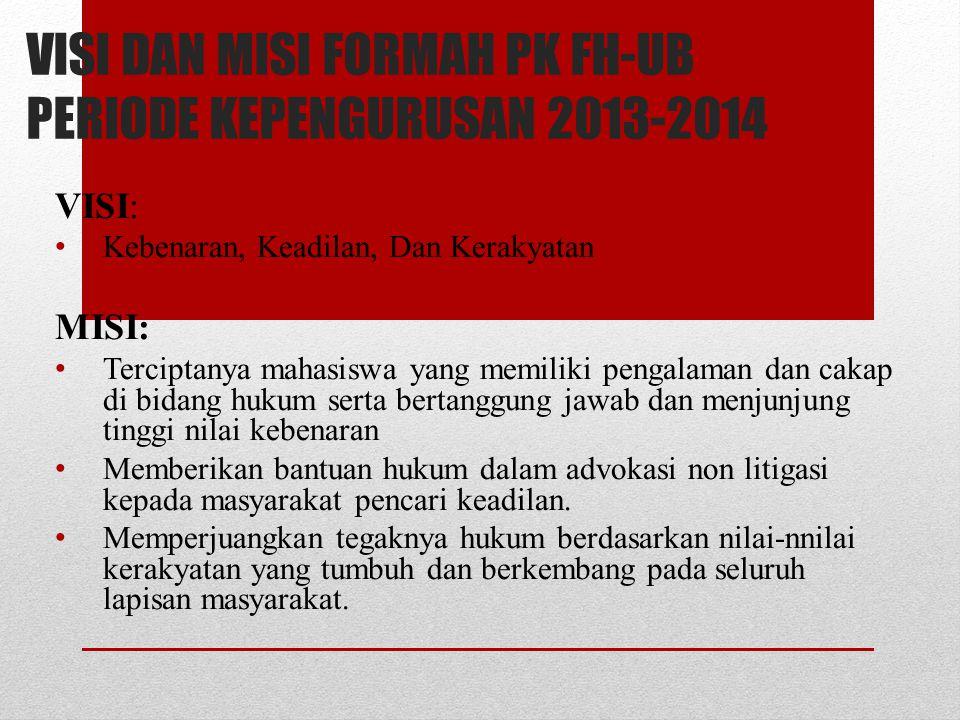 VISI DAN MISI FORMAH PK FH-UB PERIODE KEPENGURUSAN 2013-2014