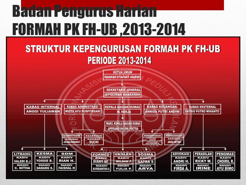 Badan Pengurus Harian FORMAH PK FH-UB ,2013-2014