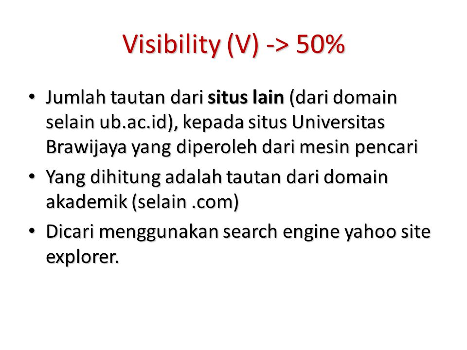 Visibility (V) -> 50%