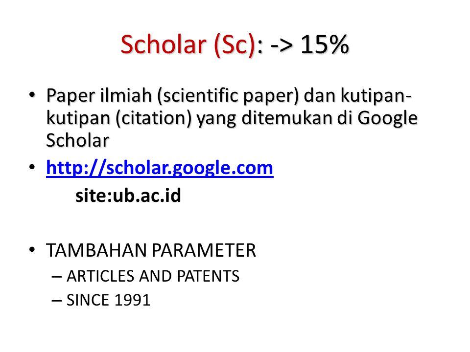 Scholar (Sc): -> 15% Paper ilmiah (scientific paper) dan kutipan-kutipan (citation) yang ditemukan di Google Scholar.