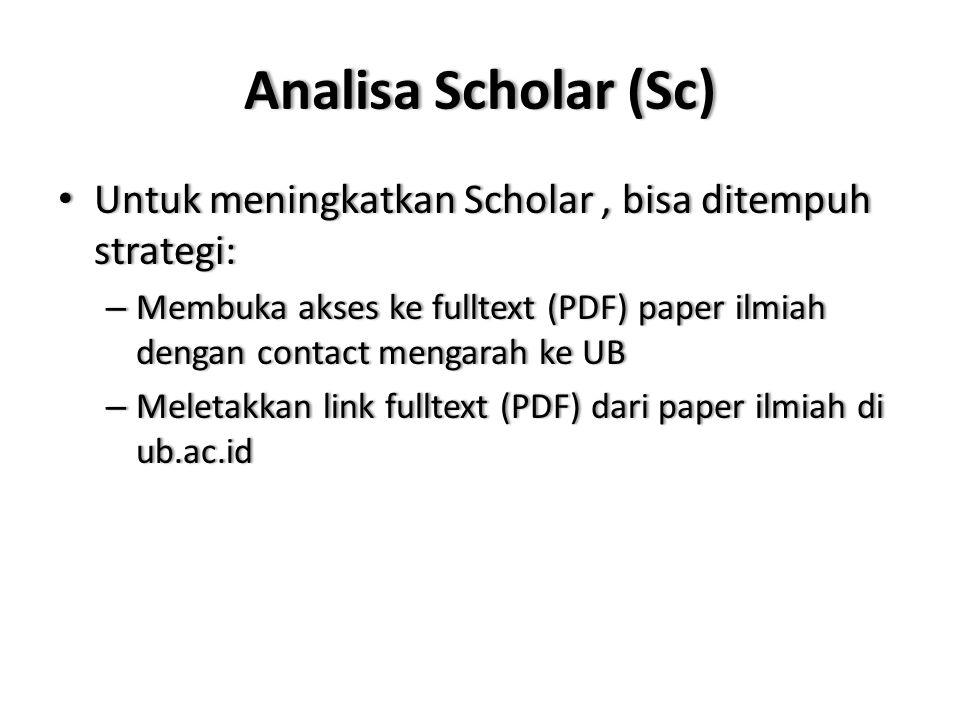 Analisa Scholar (Sc) Untuk meningkatkan Scholar , bisa ditempuh strategi: Membuka akses ke fulltext (PDF) paper ilmiah dengan contact mengarah ke UB.