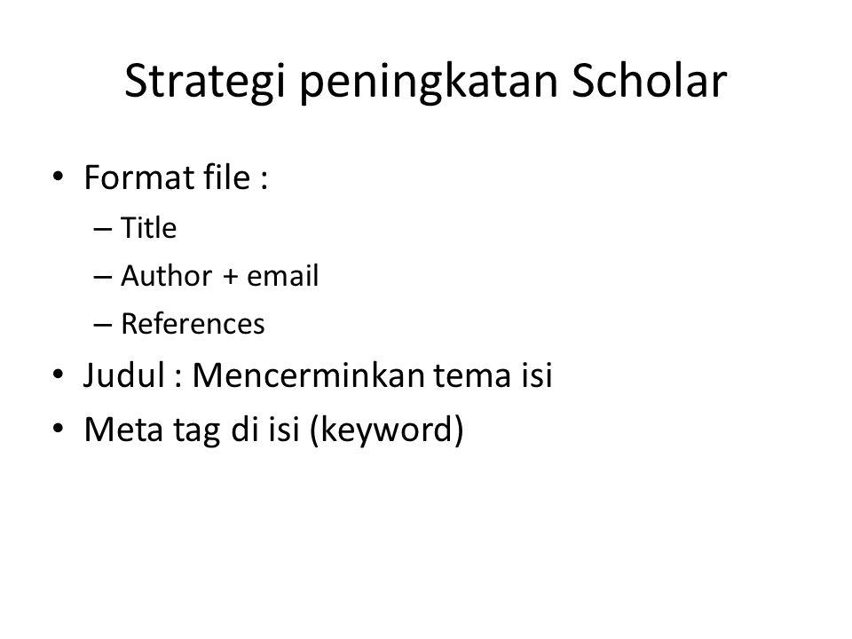 Strategi peningkatan Scholar