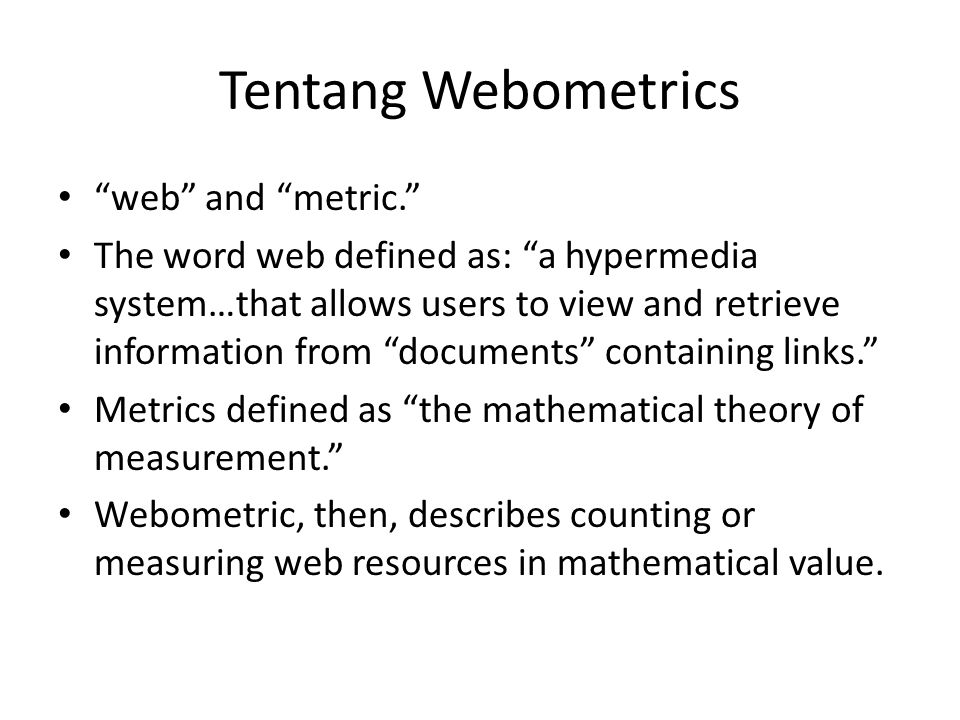 Tentang Webometrics web and metric.