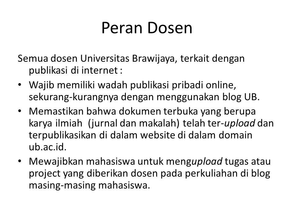 Peran Dosen Semua dosen Universitas Brawijaya, terkait dengan publikasi di internet :