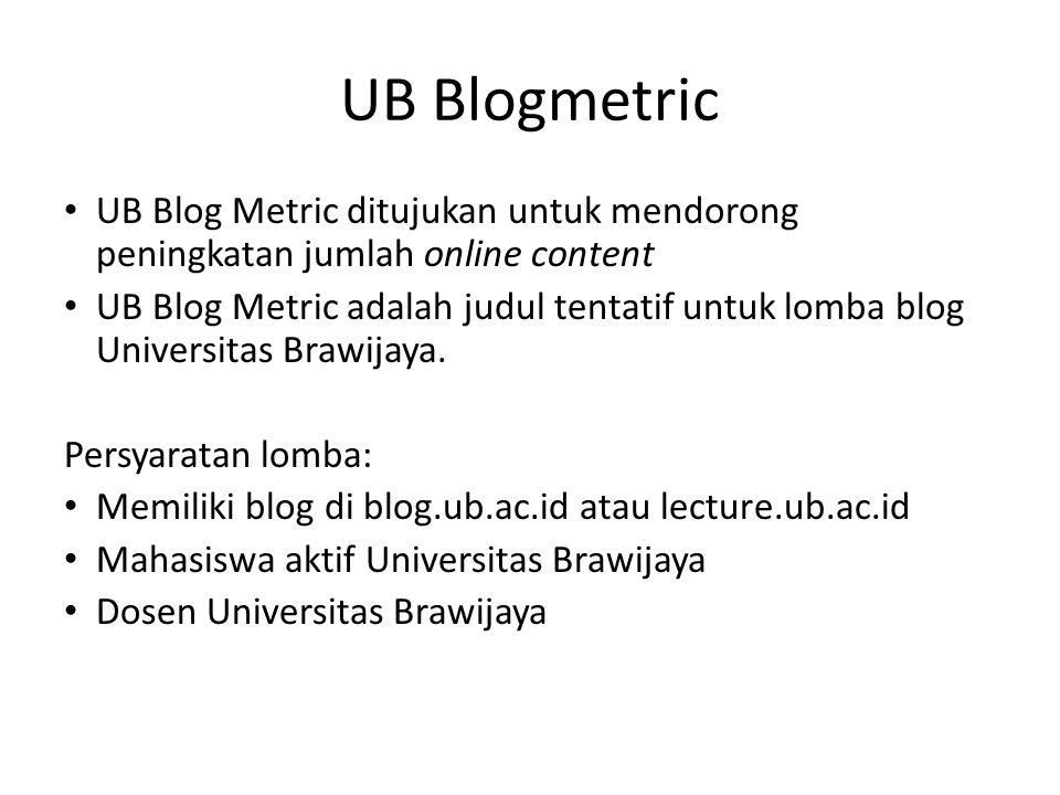 UB Blogmetric UB Blog Metric ditujukan untuk mendorong peningkatan jumlah online content.