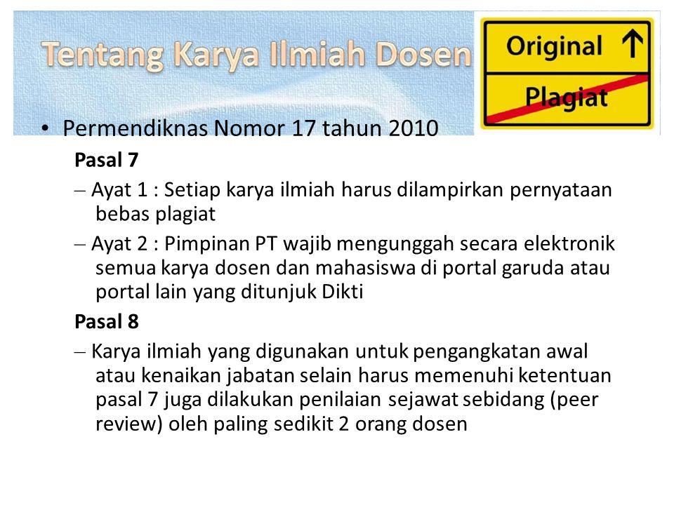• Permendiknas Nomor 17 tahun 2010