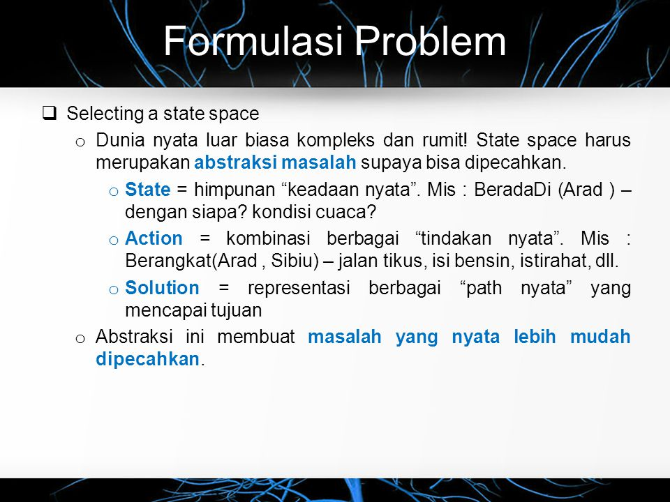 Formulasi Problem Selecting a state space