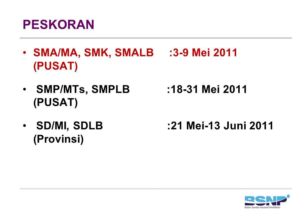 PENCETAKAN DKHUN SMA/MA, SMK, SMALB :10-13 Mei 2011