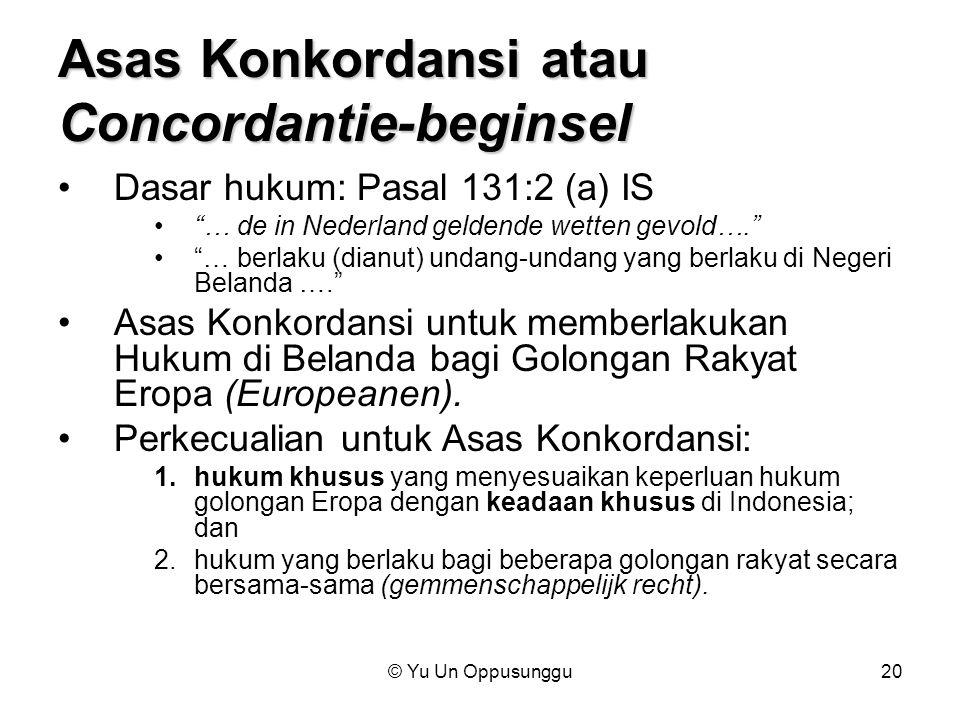 Asas Konkordansi atau Concordantie-beginsel