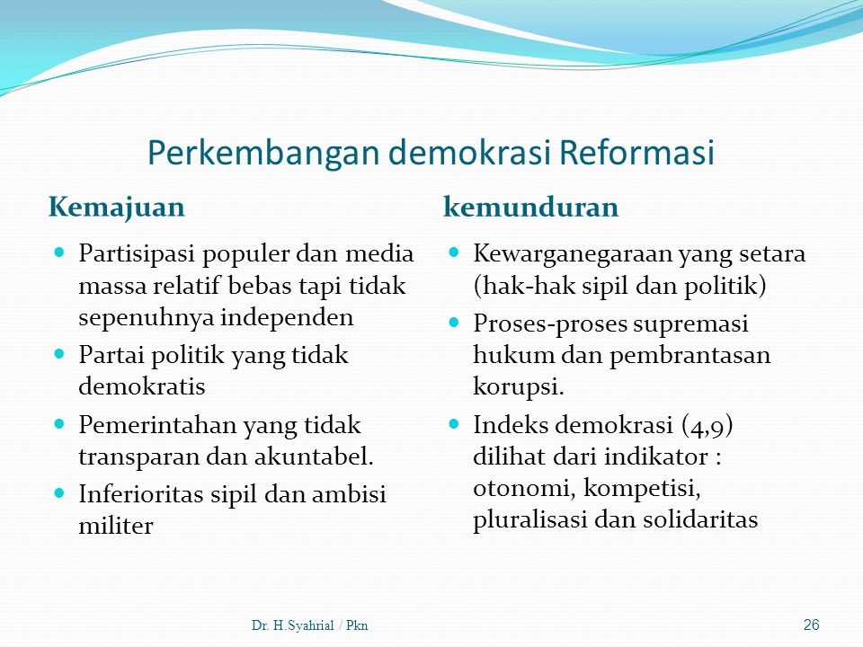 Perkembangan demokrasi Reformasi