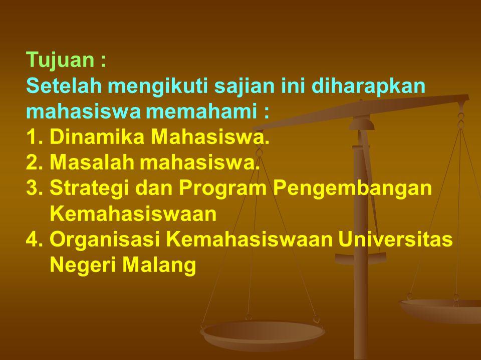 Tujuan : Setelah mengikuti sajian ini diharapkan mahasiswa memahami : 1. Dinamika Mahasiswa. 2. Masalah mahasiswa.