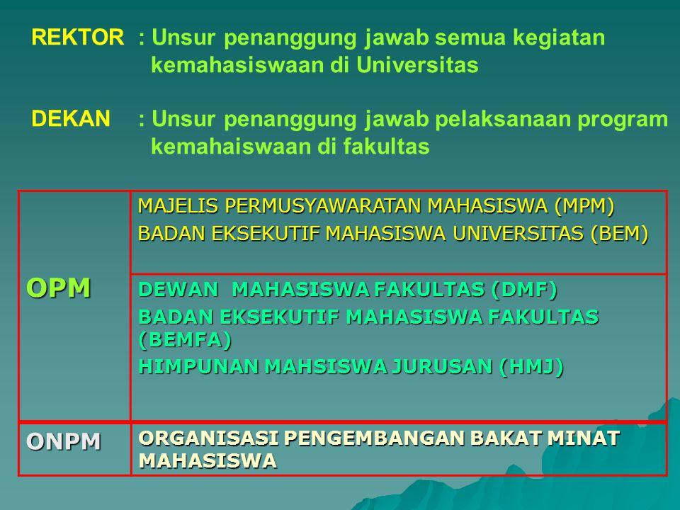 REKTOR : Unsur penanggung jawab semua kegiatan kemahasiswaan di Universitas