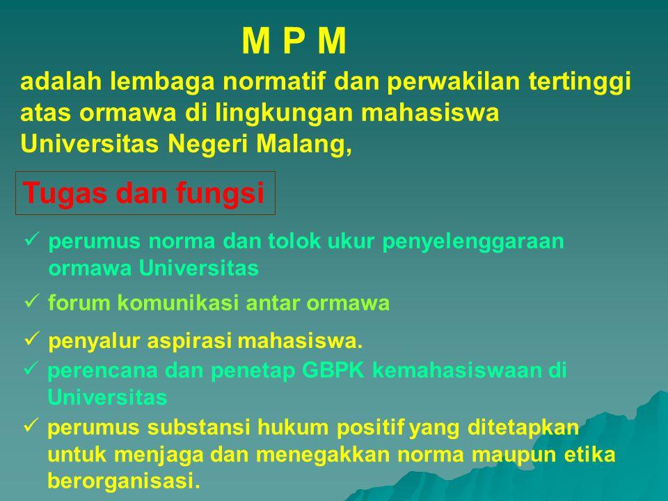 M P M adalah lembaga normatif dan perwakilan tertinggi atas ormawa di lingkungan mahasiswa Universitas Negeri Malang,