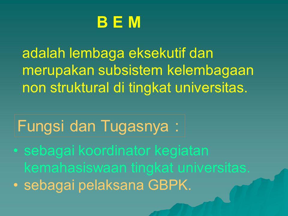 B E M Fungsi dan Tugasnya :