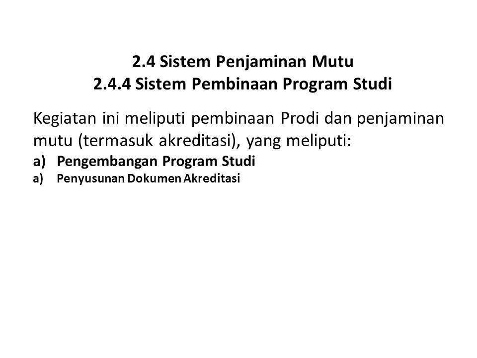 2.4 Sistem Penjaminan Mutu 2.4.4 Sistem Pembinaan Program Studi