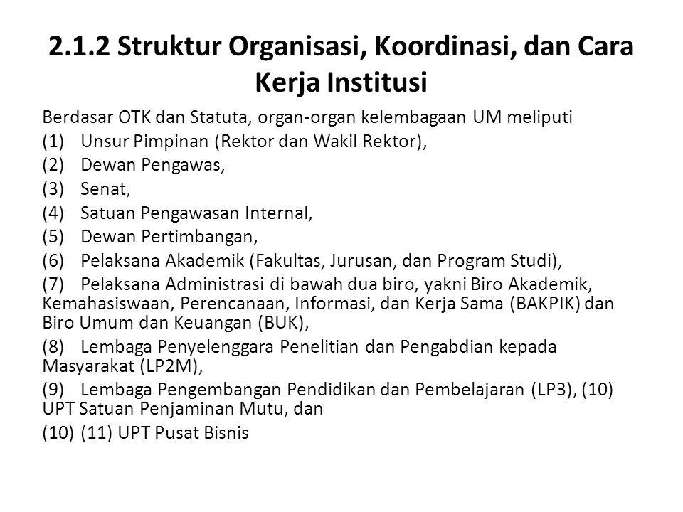 2.1.2 Struktur Organisasi, Koordinasi, dan Cara Kerja Institusi