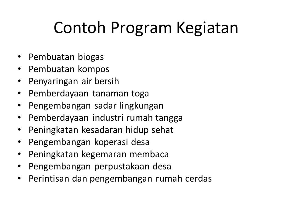 Contoh Program Kegiatan