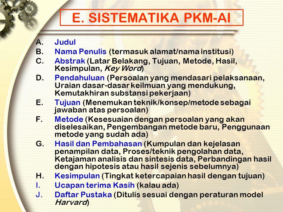 E. SISTEMATIKA PKM-AI Judul