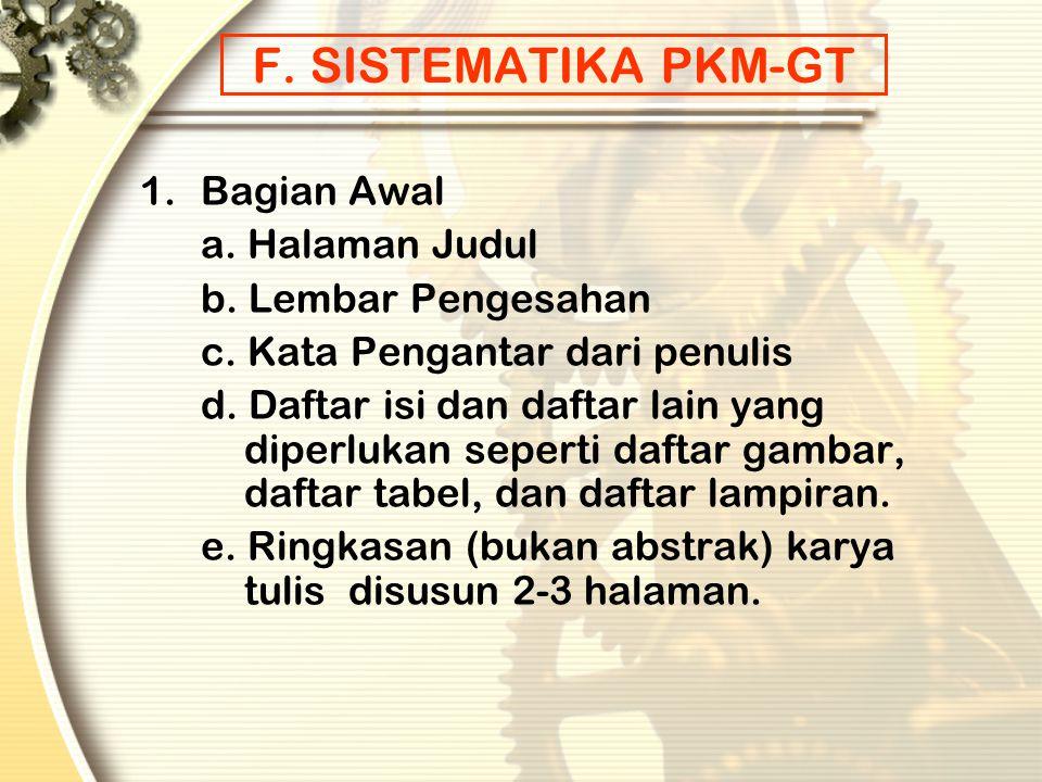 F. SISTEMATIKA PKM-GT 1. Bagian Awal a. Halaman Judul