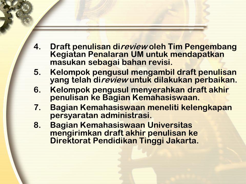 Draft penulisan direview oleh Tim Pengembang Kegiatan Penalaran UM untuk mendapatkan masukan sebagai bahan revisi.