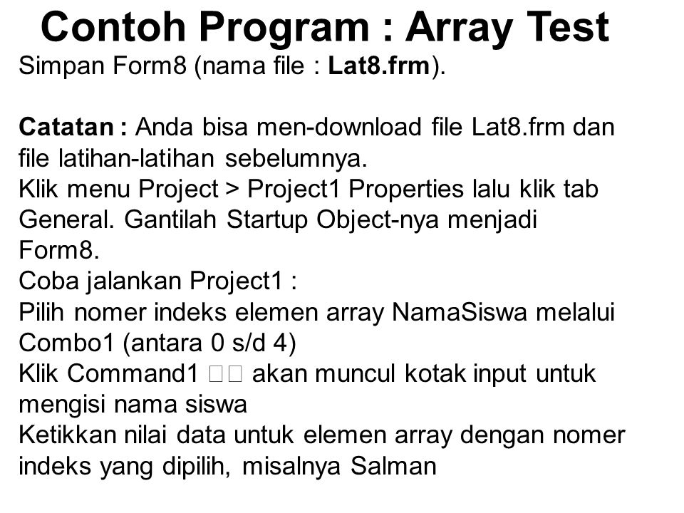 Contoh Program : Array Test