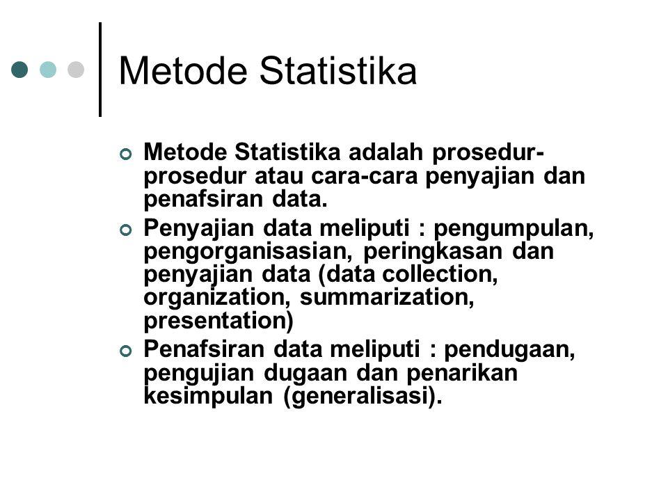 Metode Statistika Metode Statistika adalah prosedur-prosedur atau cara-cara penyajian dan penafsiran data.