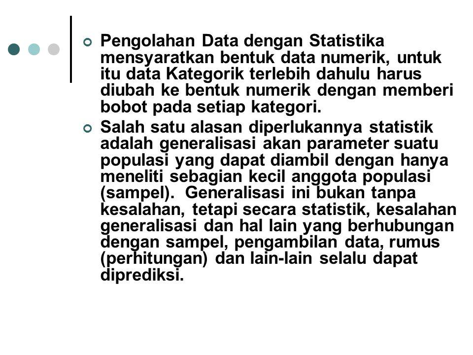 Pengolahan Data dengan Statistika mensyaratkan bentuk data numerik, untuk itu data Kategorik terlebih dahulu harus diubah ke bentuk numerik dengan memberi bobot pada setiap kategori.