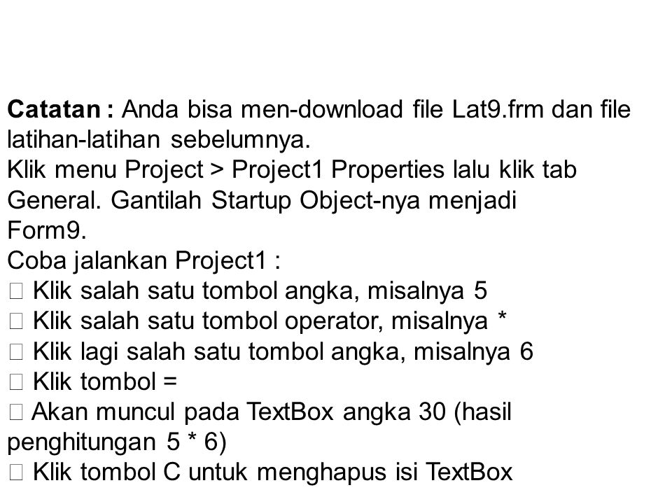 Catatan : Anda bisa men-download file Lat9