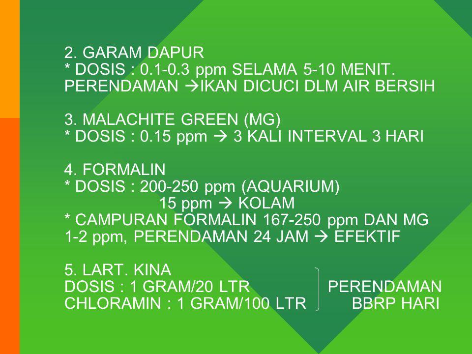 2. GARAM DAPUR. DOSIS : 0. 1-0. 3 ppm SELAMA 5-10 MENIT