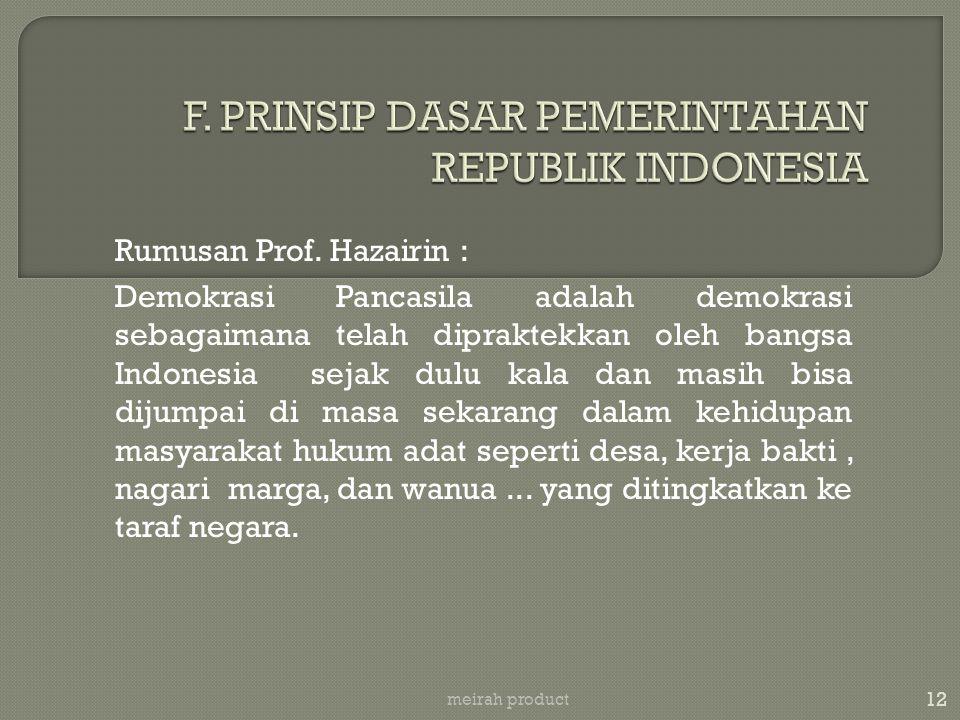 F. PRINSIP DASAR PEMERINTAHAN REPUBLIK INDONESIA