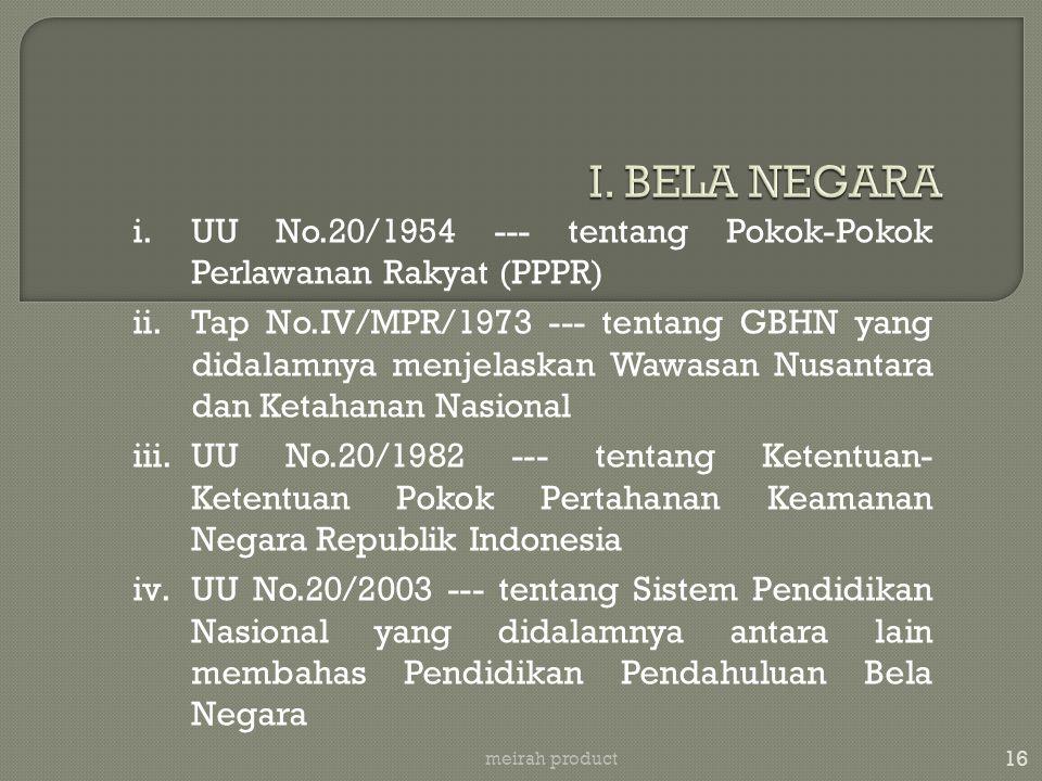 I. BELA NEGARA UU No.20/1954 --- tentang Pokok-Pokok Perlawanan Rakyat (PPPR)