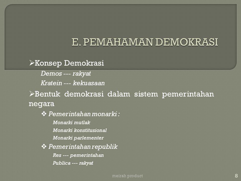 E. PEMAHAMAN DEMOKRASI Konsep Demokrasi