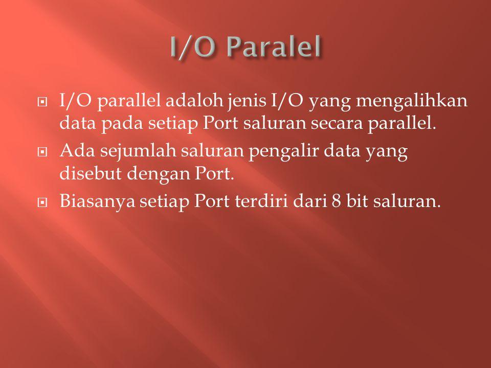 I/O Paralel I/O parallel adaloh jenis I/O yang mengalihkan data pada setiap Port saluran secara parallel.
