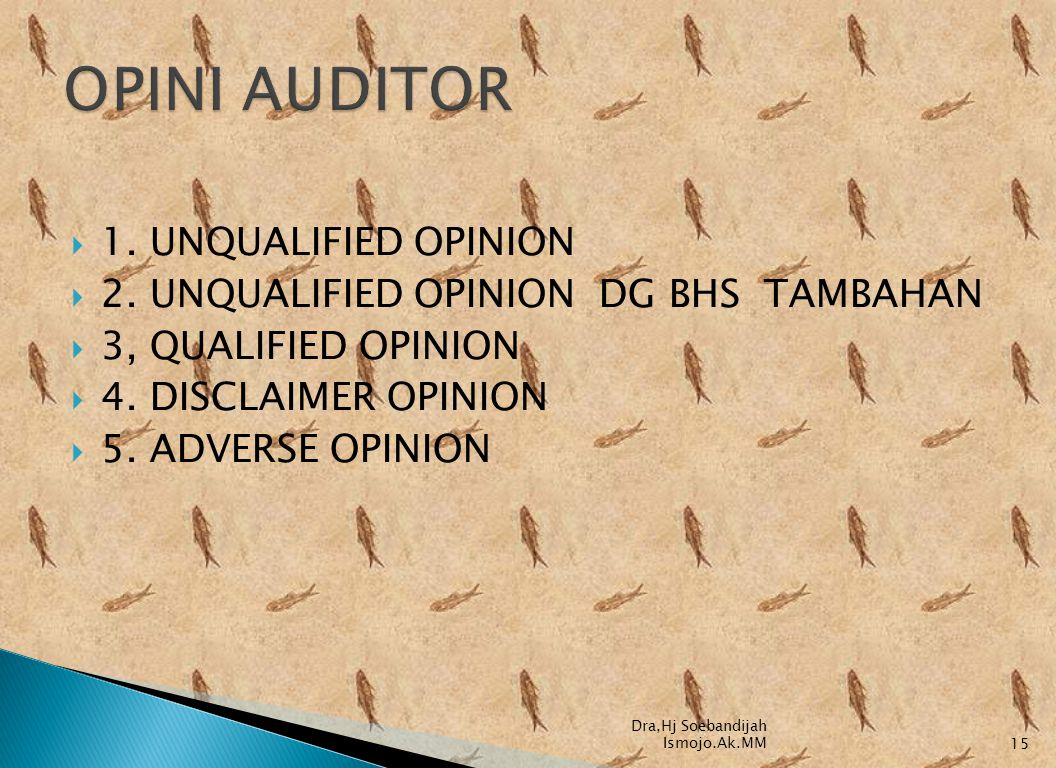 OPINI AUDITOR 1. UNQUALIFIED OPINION