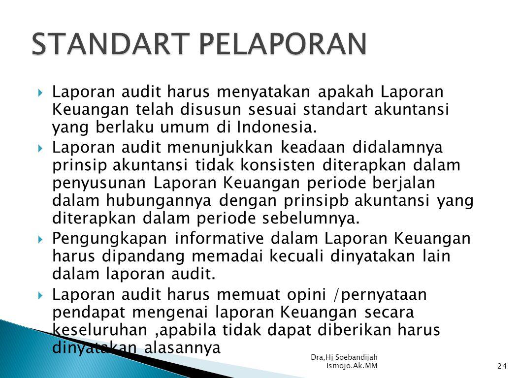 STANDART PELAPORAN Laporan audit harus menyatakan apakah Laporan Keuangan telah disusun sesuai standart akuntansi yang berlaku umum di Indonesia.