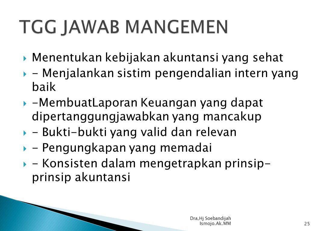 TGG JAWAB MANGEMEN Menentukan kebijakan akuntansi yang sehat