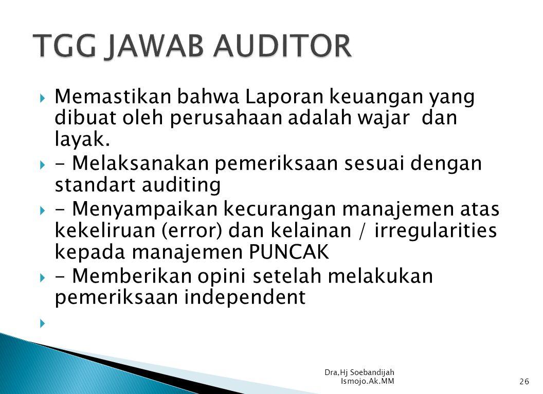 TGG JAWAB AUDITOR Memastikan bahwa Laporan keuangan yang dibuat oleh perusahaan adalah wajar dan layak.