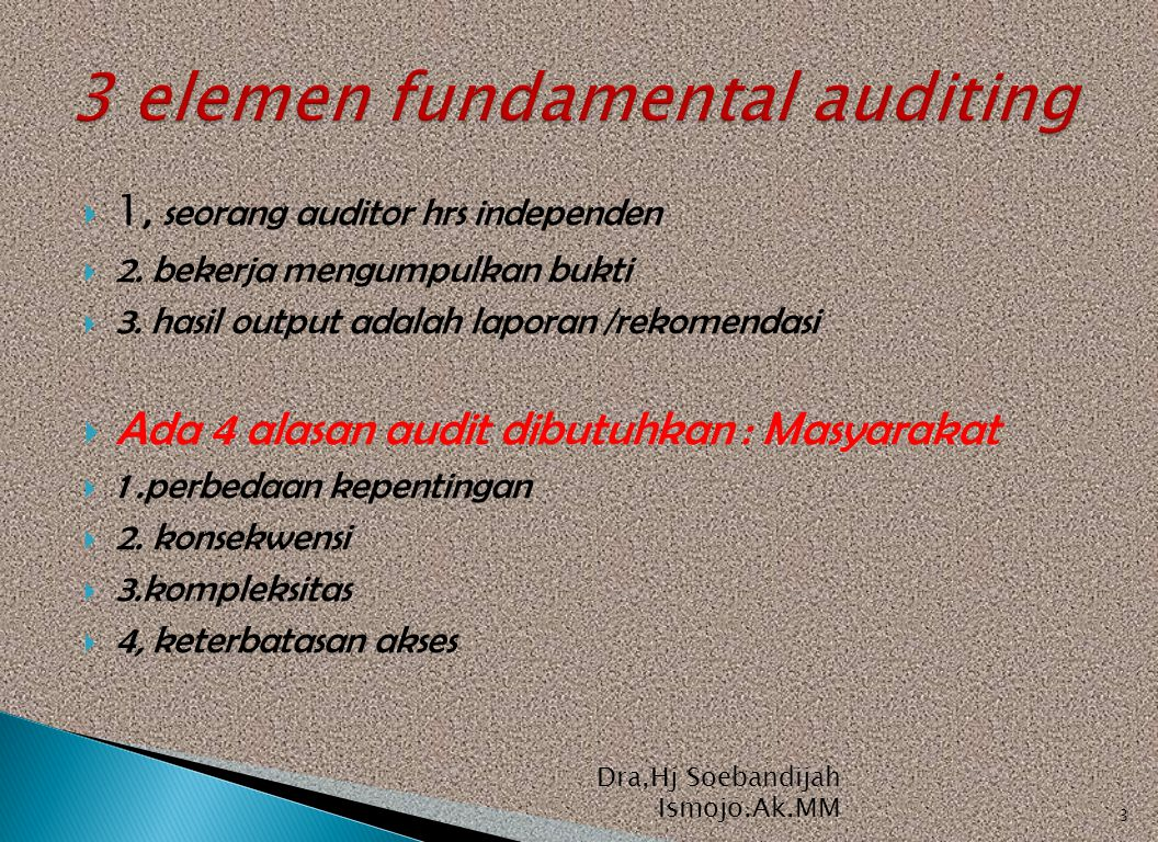3 elemen fundamental auditing