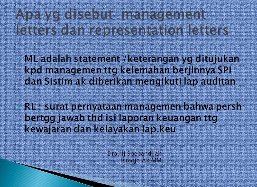 Apa yg disebut management letters dan representation letters