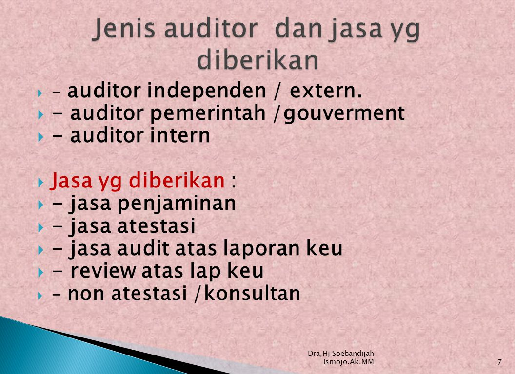 Jenis auditor dan jasa yg diberikan
