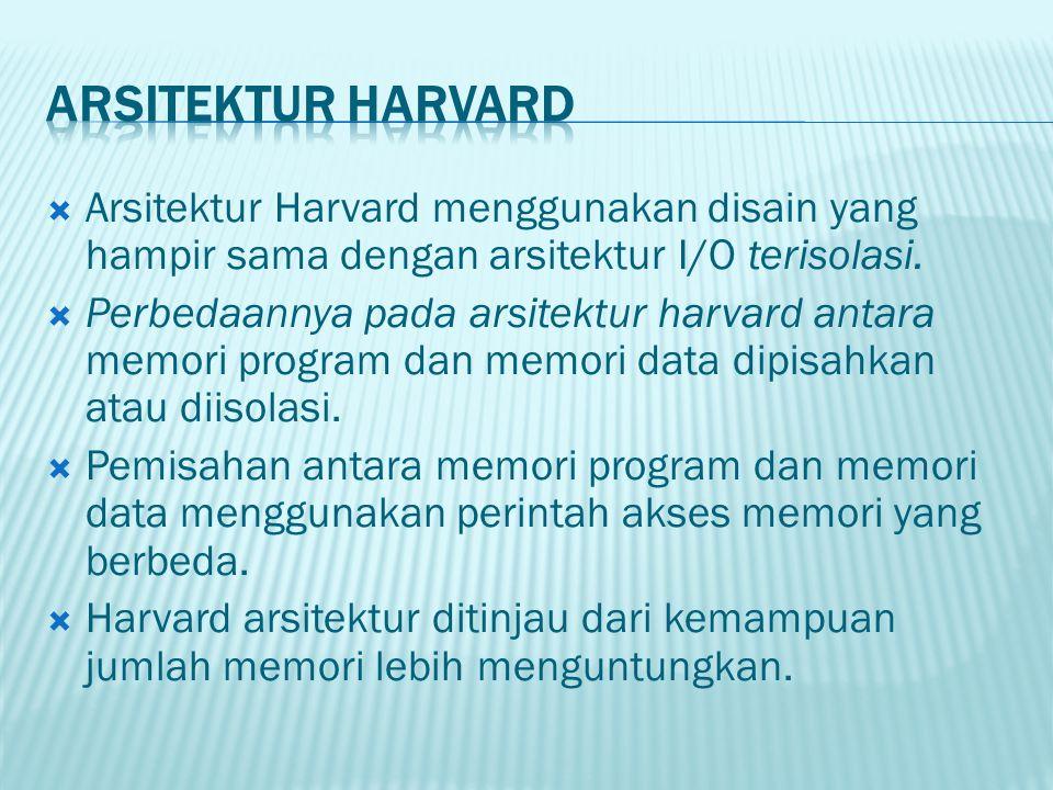 Arsitektur Harvard Arsitektur Harvard menggunakan disain yang hampir sama dengan arsitektur I/O terisolasi.