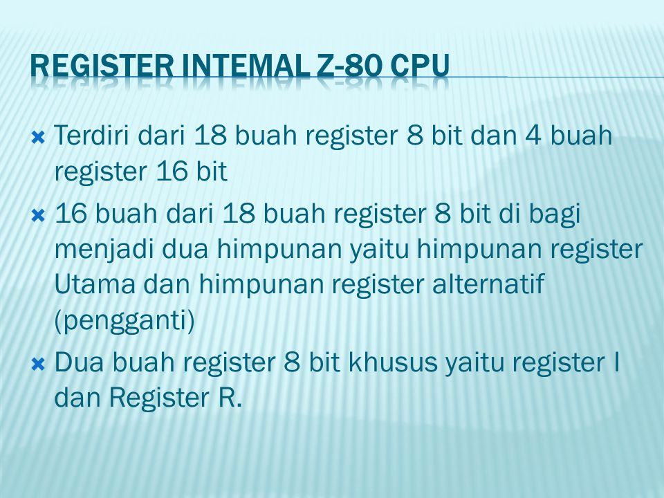 Register Intemal Z-80 CPU